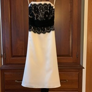 Strapless A-Line Dress - white with black lace